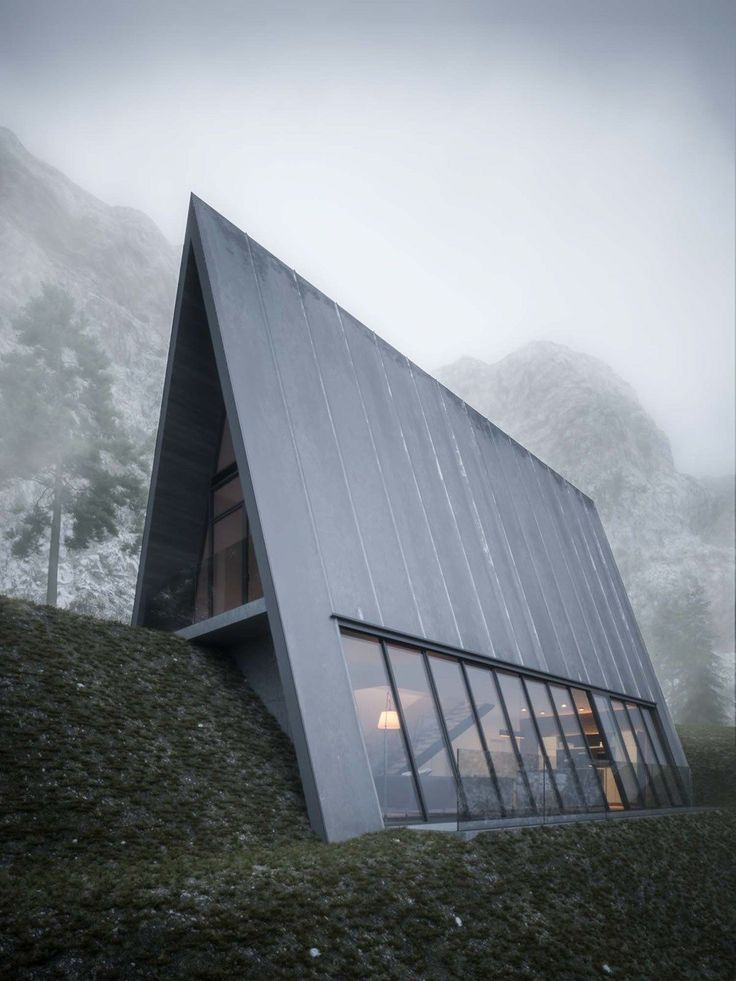 Beautifully Minimal Triangular House That Sits At The Edge Of A Cliff