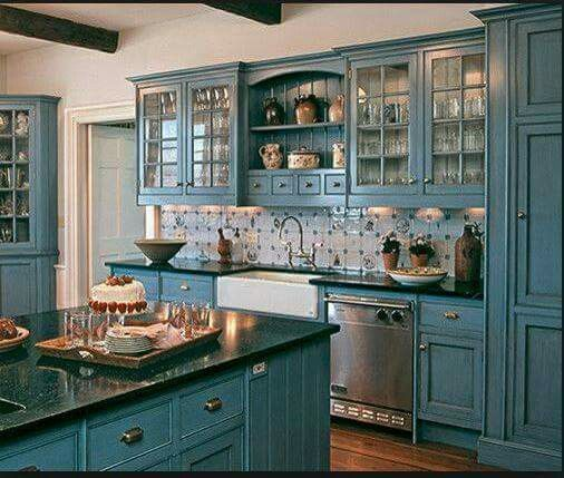 Kithen goals: teal cabinets, dark quartz countertops, leaded glass, some open shelving to show off books & pretties, farm sink.