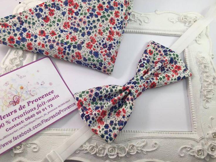 Set Noeud Papillon et Pochette costume assortie Tissus Liberty Phoebe bleu/rouge - Homme : Cravates par fleurs-de-provence