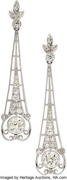 Estate Jewelry:Earrings, Diamond, Platinum Earrings The earrings featur...