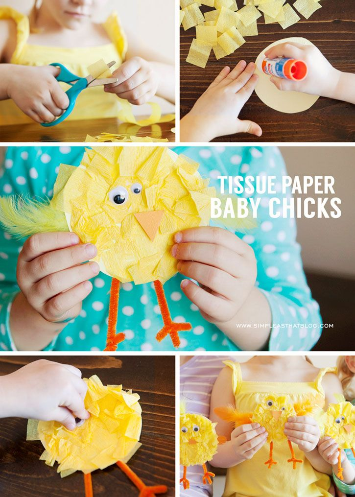 Spring Kids Craft, Tissue Paper Baby Chicks