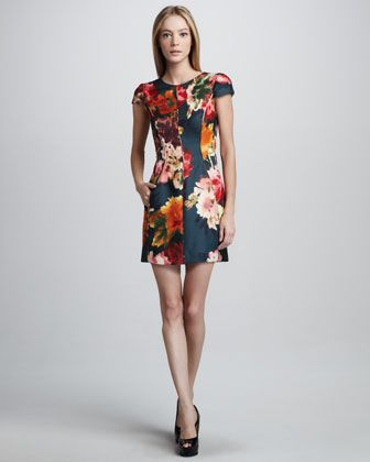 Floral-Print Cap-Sleeve Sheath Dress by J. Mendel at Neiman Marcus.