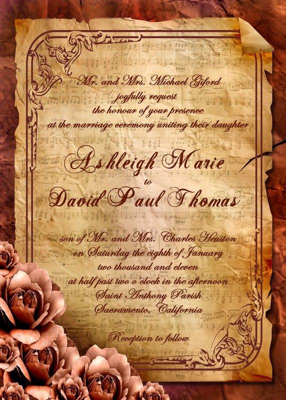 Vintage  Rose Victorian Sheet Music Wedding by inkdbykate on Etsy, $50.00