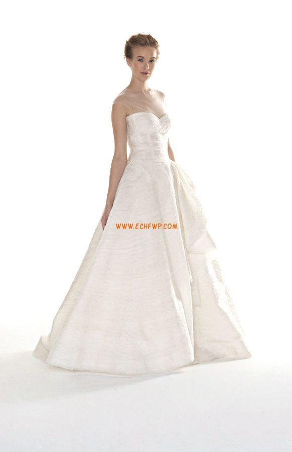 Cauda Média Tafetá Drapeado Vestidos de Noiva 2014