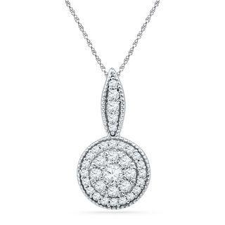 1/3 CT. T.W. Diamond Cluster Frame Drop Pendant in 10K White Gold | Diamond Necklaces | Necklaces | Zales