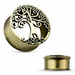 Tunnel courbe arbre de vie - 14mm. Piercing-abondance vous propose des milliers de bijoux corporels en acier pour hommes et femmes.