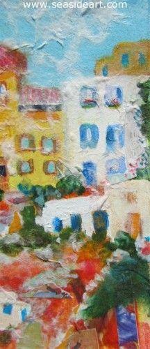 Mediterranean Village by Yvonne Wilson Boone, Virginia. Mixed media painting 5″ x 2″ ; frame: 8″ x  4 1/2″ #art #artforsale