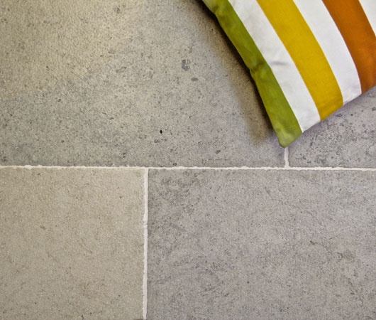 Blue & Beige Limestone...for a fresh, clean, simple, & spacious effect...