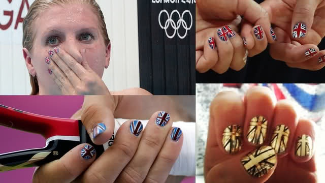 Olympic-theme nails as seen on the Olympians