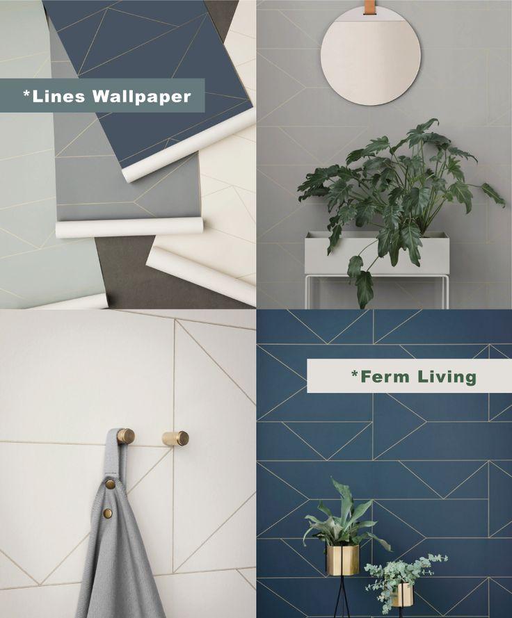 Ferm Living Wallpaper_Lines Wallpaper- White, Grey, Dark Blue, Mint