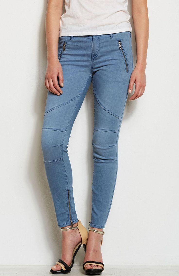Super Skinny Zippered Moto Jean - Denim - Womens - Armani Exchange
