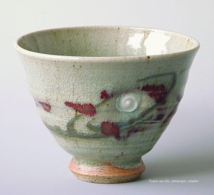 Teacup, stoneware, celadon, ashglaze, Tineke van Gils