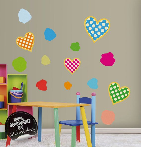 Hearts and spots wall decal, Patterned hearts wall decor, Polka dot, Brush splashes wall decal, Colorful shapes wall sticker, Removable #80