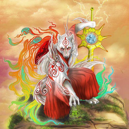 Sun Warrior Okami Fanart Amaterasu Shiranuai Thunder