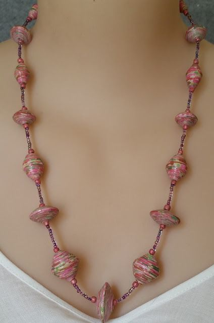 Rose, tapered and saucer shaped, paper bead and seed bead necklace. $40.00