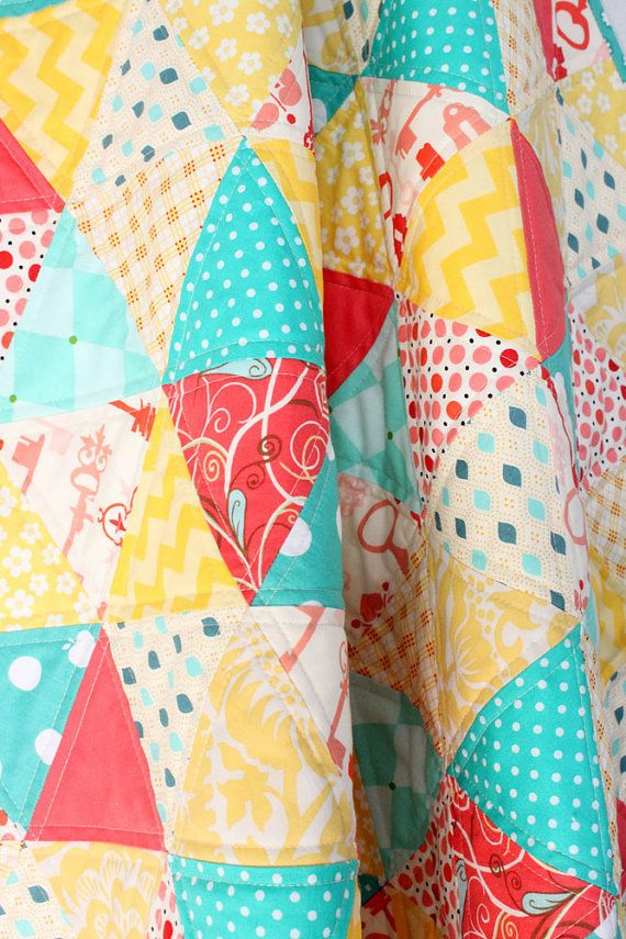 Coral Yellow And Teal Triangle Baby Girl Quilt Baby