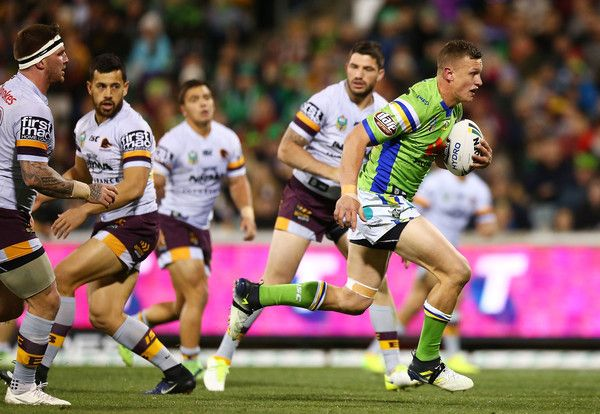 Jack Wighton of the Raiders makes a line break to score during the round 16 NRL match between the Canberra Raiders and the Brisbane Broncos at GIO Stadium on June 24, 2017 in Canberra, Australia.