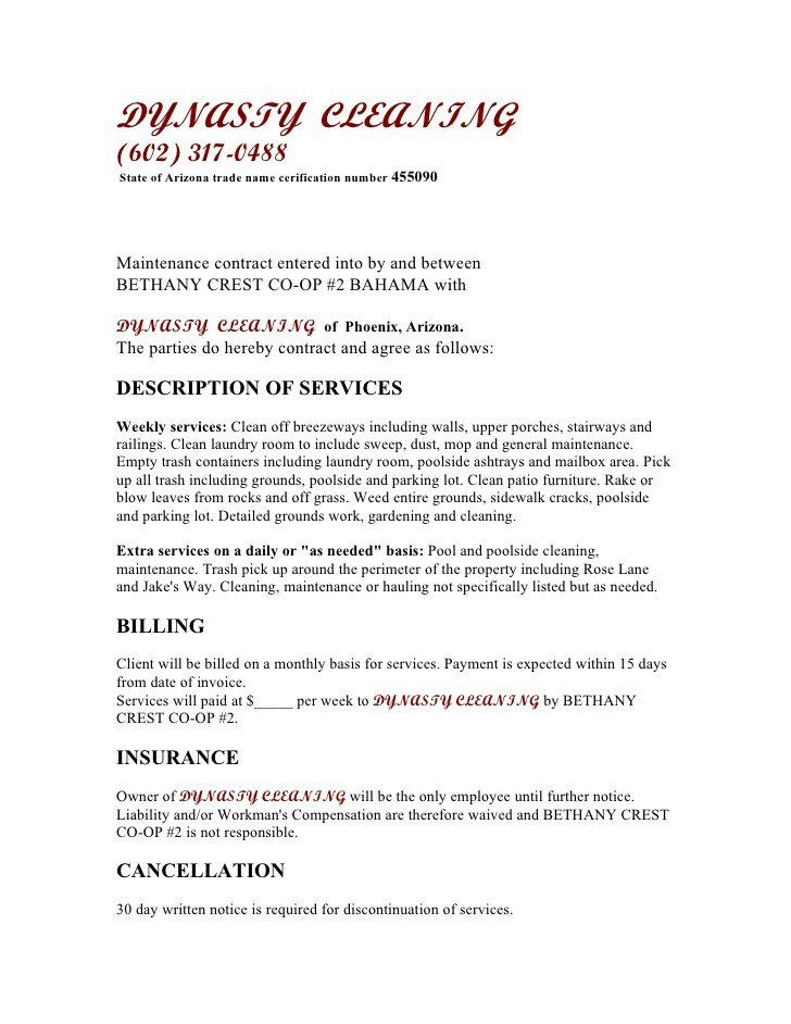 28 Janitorial Services Contract Template In 2020 Cleaning