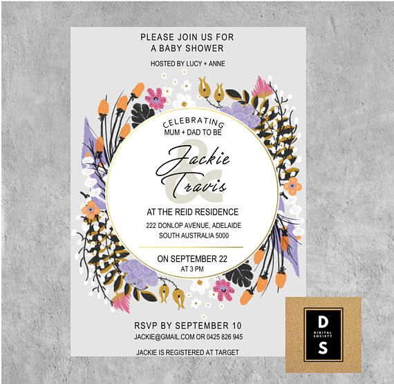 baby shower floral girl boy neutral joint printable