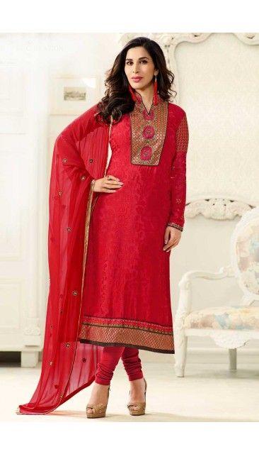Bollywood Sophie Choudry Red Brasso Churidar Dress - DMV14835
