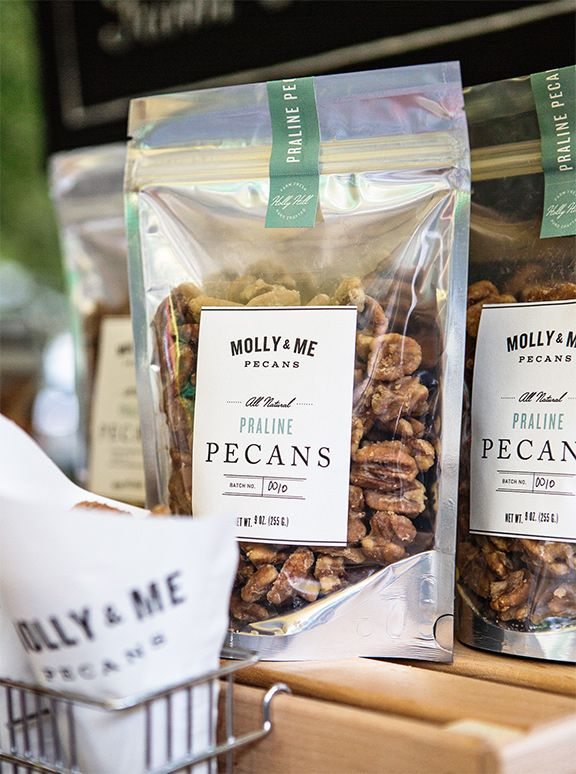Molly and Me Pecans. Knockout / Colombia / Lakeside / Adobe Caslon fonts.