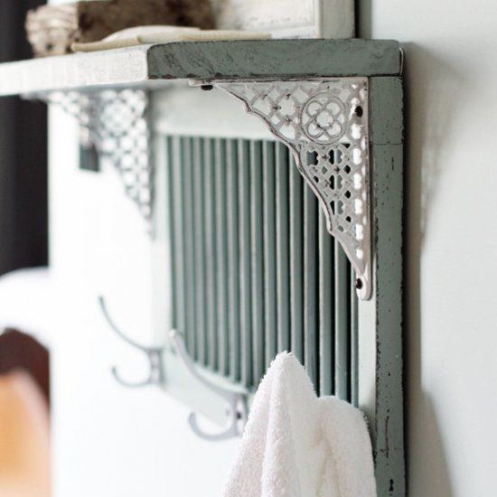 Turn an old shutter into a cute and functional shelf!