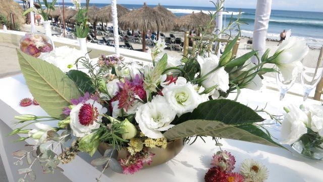 Bride and groom table setup
