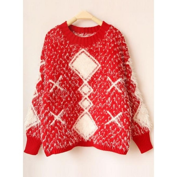 Red Long Sleeve Geometric Loose Sweater$55.00 ($55) ❤ liked on Polyvore