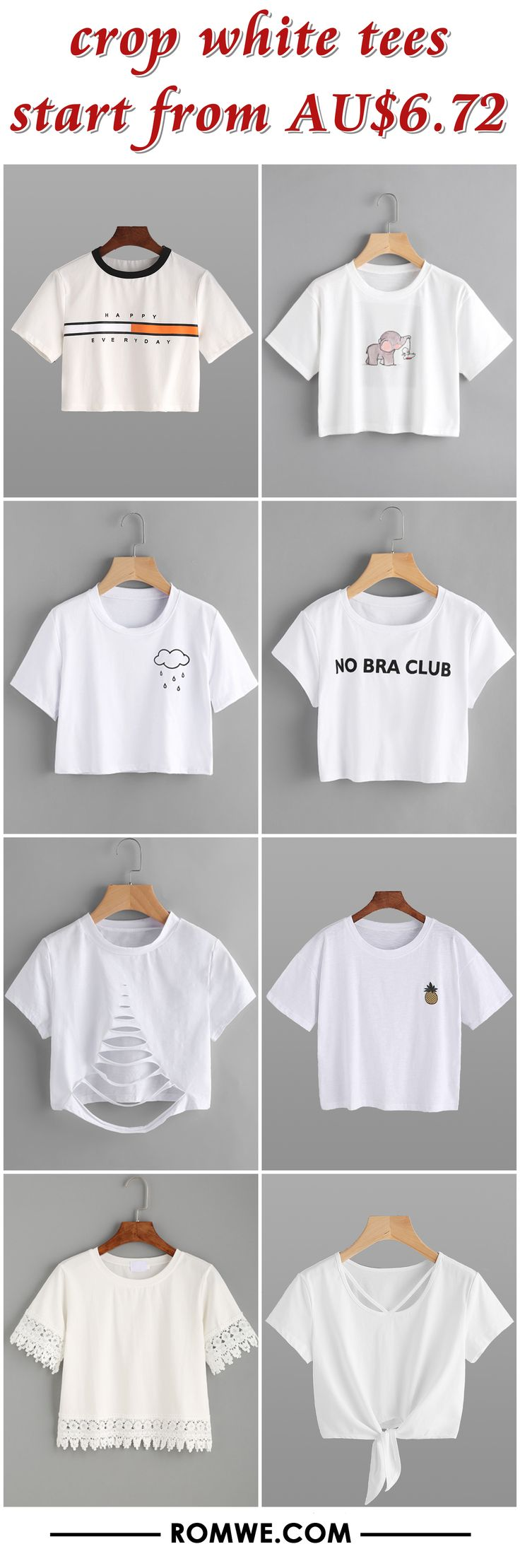crop white tees 2017 - romwe.com