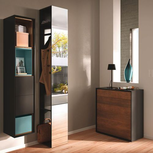 Contemporary entrance cabinet / walnut / with mirror / with storage compartment SCOPIA  hülsta