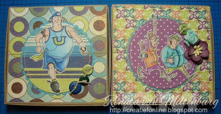 Zelfmaak cadeautjes / DIY presents by Renata van Miltenburg. Memoblaadjes houder / memo holder. Stamps: Mo's Digital Pencil (jogging) and Art Impressions (sport ladies).