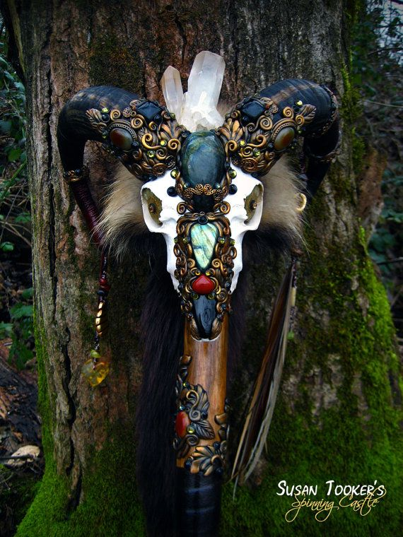 Ram Skull Staff Labradorite Black Tourmaline Carnelian Druid Wizard Pagan Wiccan Magic Walking Stick Agate Fox Fur by Spinning Castle