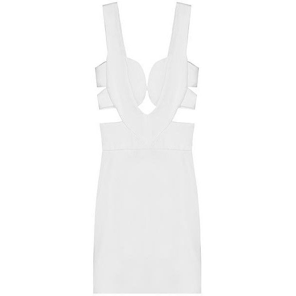 SENA Cut Out Dress - White ❤ liked on Polyvore featuring dresses, vestidos, платья, white dress, cutout dresses, cut out dresses, white day dress and sena
