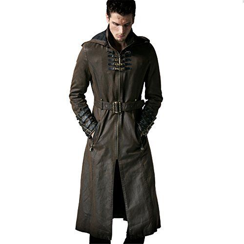 """Gender:Men Material: Cotton 60% Polyester 36% Leather 4% Version:Loose Fit Soft index:soft Thickness index:Thin Style:Fashion,gothic,Punk Color:Coffee Size:M,L,XL,2XL,3XL(cm)       Famous Words of Inspiration...""""Failures do what is tension relieving, while winners do what is...  More details at https://jackets-lovers.bestselleroutlets.com/mens-jackets-coats/trench-rain/product-review-for-peony-ghost-steampunk-man-coffee-dark-twill-long-coat-leather-loop"""