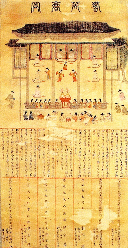 """""""Painting of the Assembly of Elder Statesmen"""" Mid-16th C. The Golden Age of Neo-Confucianism in Korea. Tangible cultural property number 219."""