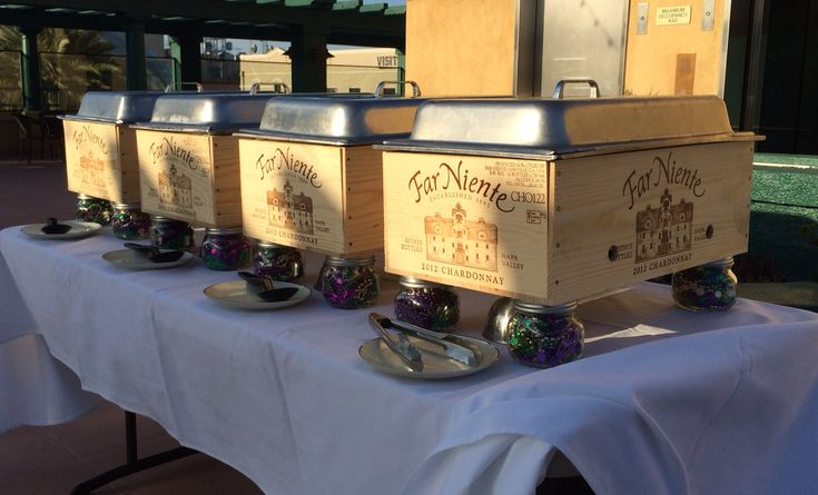 Wine box chafing dishes!!!! We built our own wind resistant chafers!!