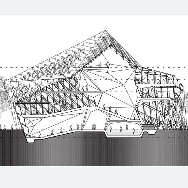 longitudinal fold. #architecture #design #parametric #folded #surface #volume #mass #panelization #3d #plan #section #drawing #line #diagram #structure #rhino #3dmodeling #grasshopper #perforations