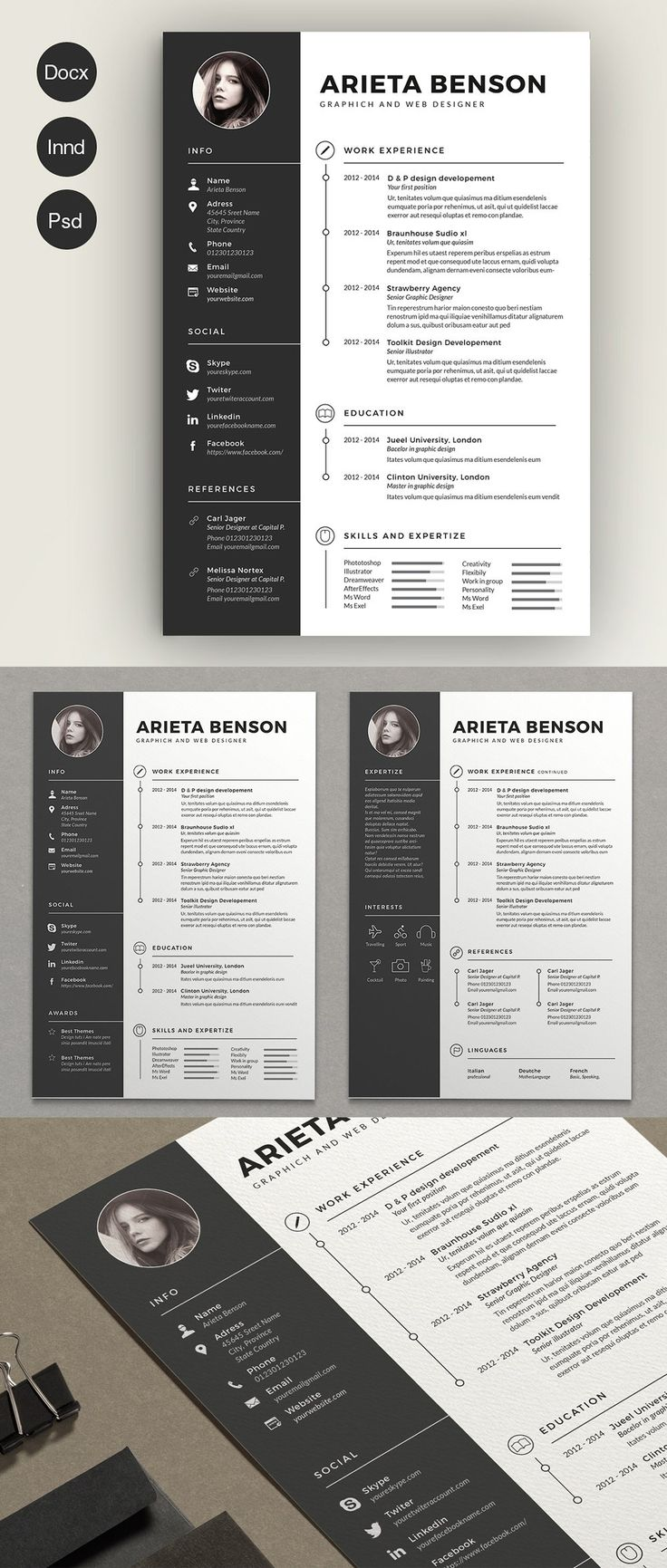 91 best Resume / CV Design Templates images on Pinterest