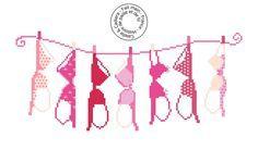 Grille gratuite point de croix - Collection de soutien-gorge - Sac à linge - Rouge et rose - www.caielle-cadiera.com