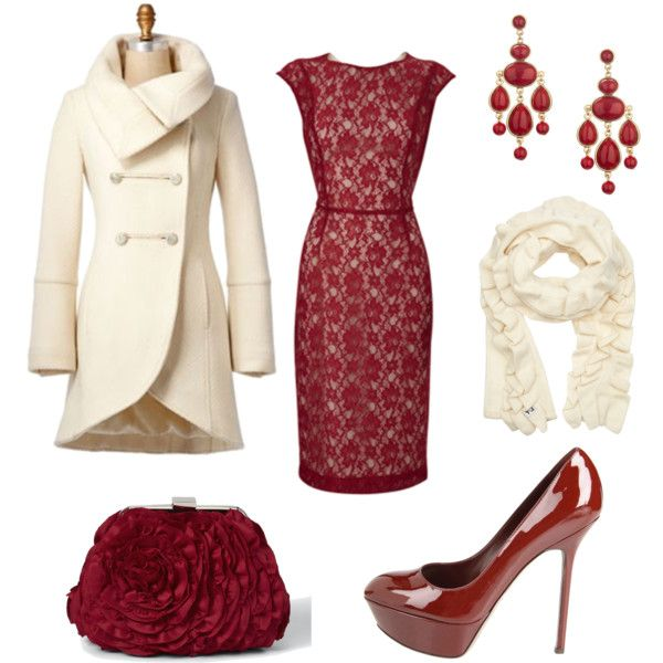 Simple red and white. Elegant and fun. Great Valentine's Day look.