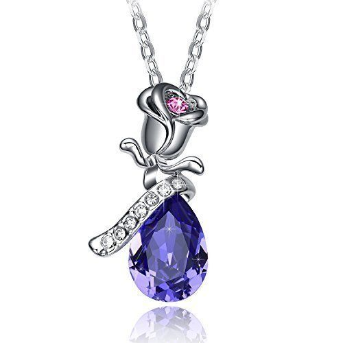 Mothers Day Gifts Gift For Mother Mom Necklace Pendant Purple Rose Crystal NEW #Kbrand