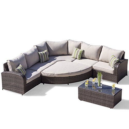 Rattan Outdoor Sofa Set Weave Modular Sofa Set Outdoor Garden Furniture / Conservatory Patio Furniture Ledbury 5