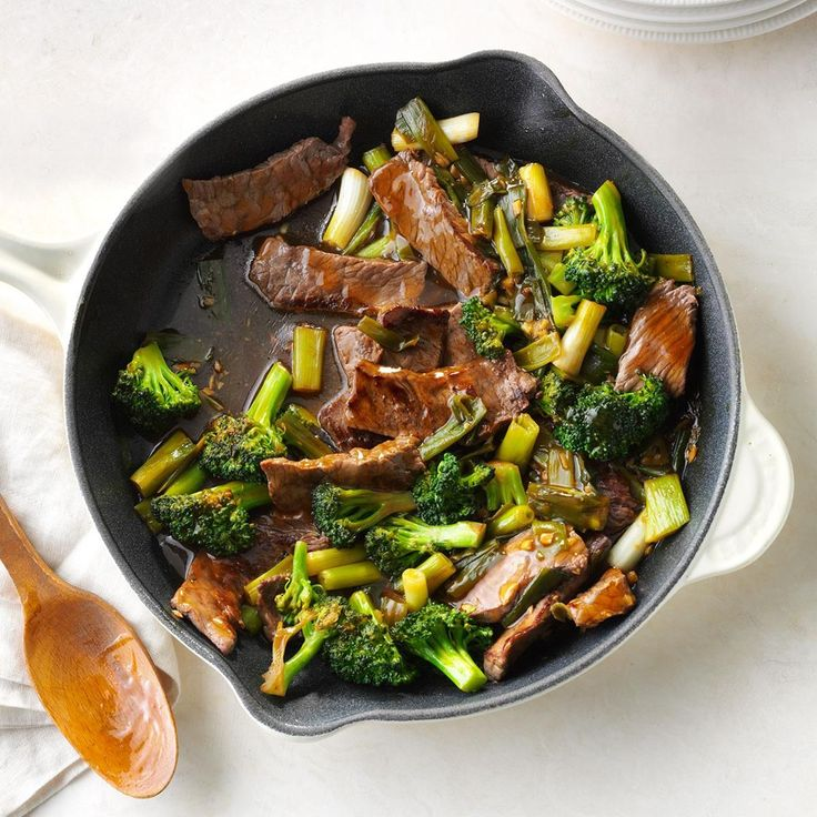 Saucy Beef with Broccoli Recipe -When I'm looking for a fast entree, I turn to this beef and broccoli stir-fry. It features a tantalizing sauce made with garlic and ginger. —Rosa Evans, Odessa, Missouri