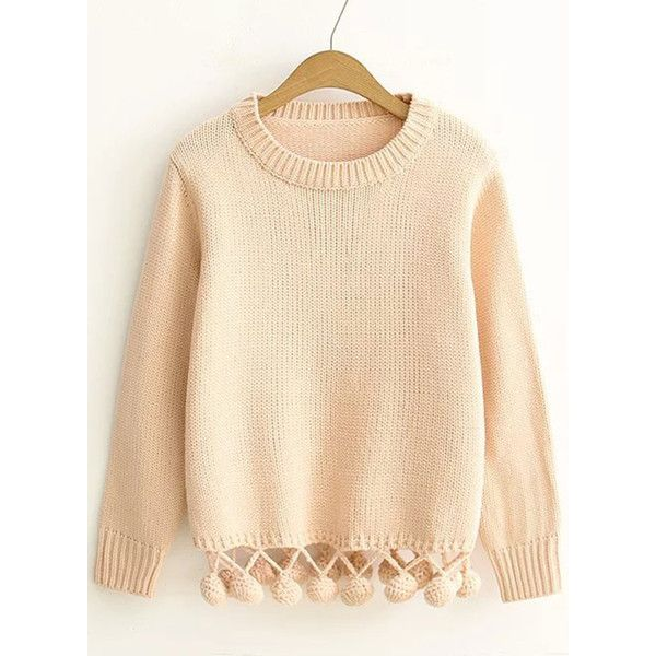 Cute Long Sleeve Venonat Hem Pullover Sweater ($34) ❤ liked on Polyvore featur…