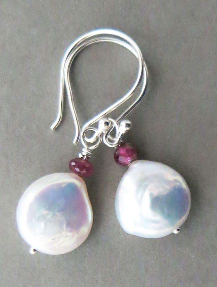 White Coin Pearl Earrings Coin pearl earrings, Pearl
