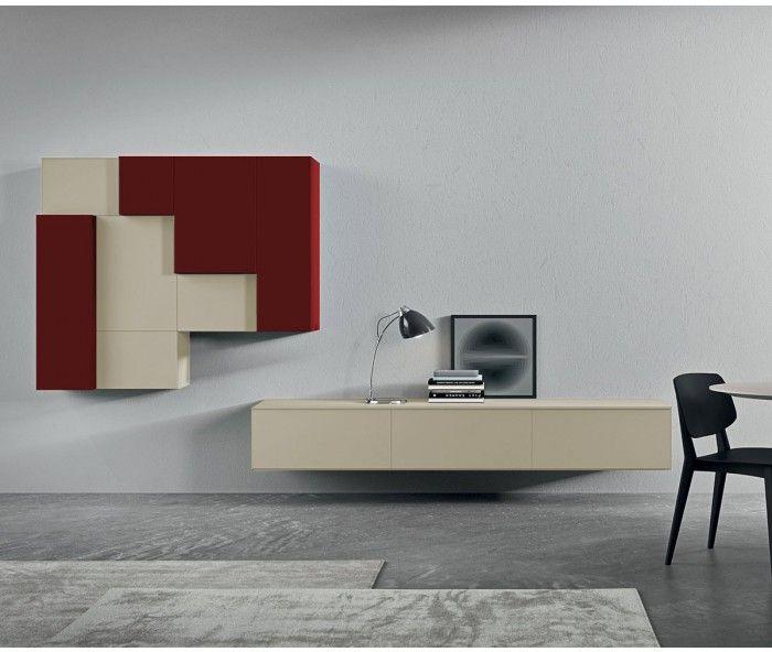 Italienische Design TV Wohnwand About 13 Beige Sabbia Rosso/ TV Board Made  In Italy