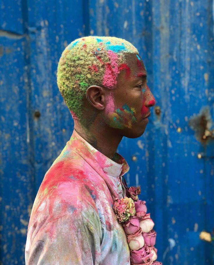 Missing India something fierce, wow. // Holi is one of the most beautiful experiences I hold in first memory (thx Mom & Dad). Also I've always felt such a heart connection to @pharrell — now it just deepened. This image just cracked my 💖 open. #mumbai #india #holifestival #holifestivalofcolours