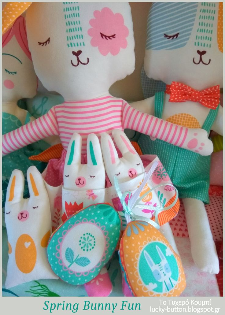 Spring Bunny Fun, Easter time! Πάνινα Λαγουδάκια, Κουνελάκια, αυγουλάκια.
