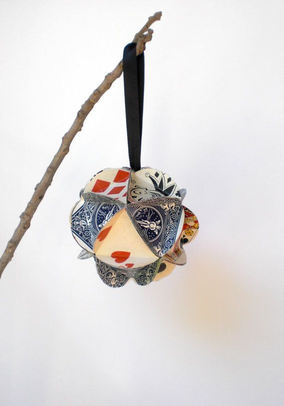 Geometric Christmas Ornament from Up-Cycled Playing Cards - $12.00 each. A clever gift idea for the poker player/father/man in your life! #recycled