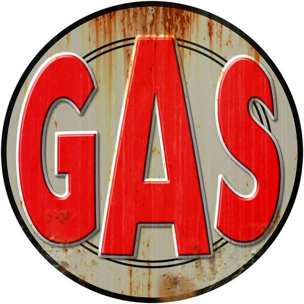 Gas metal sign 14 distressed round 50s vintage gas station wall decor